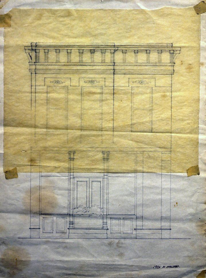 Drawing of the east elevation (presumably by Roger Brown, c. 1994) with a tissue overlay with a design for a restored pressed metal cornice.