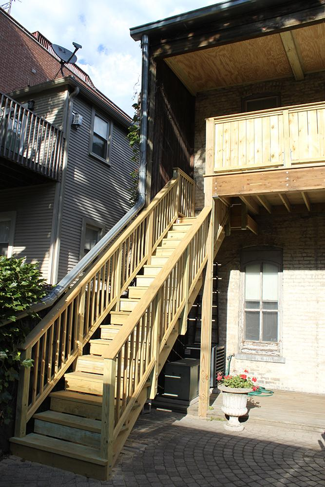 New stairs and porch in the RBSC garden, 2014