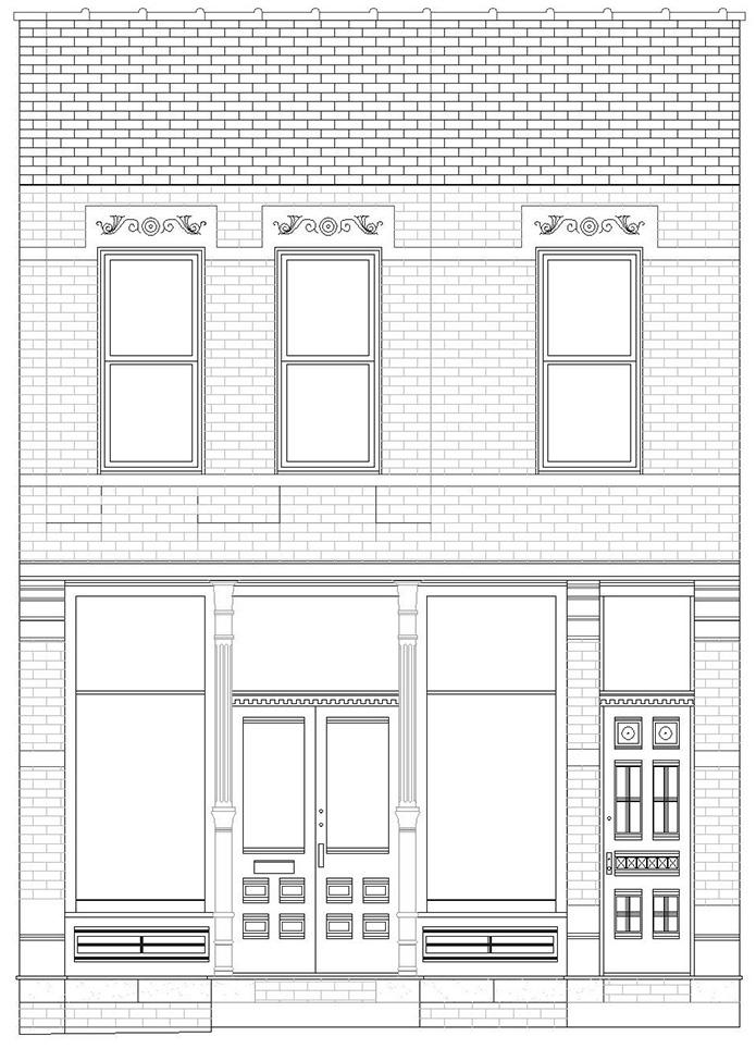 East elevation, 1926 N. Halsted St. reflecting changes made in the 2006 Restoration Methods Studio class.