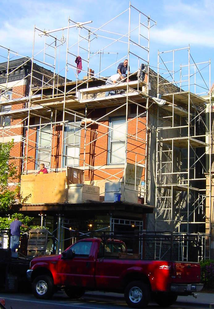 1926 scaffolded for cornice replacement work, 2003