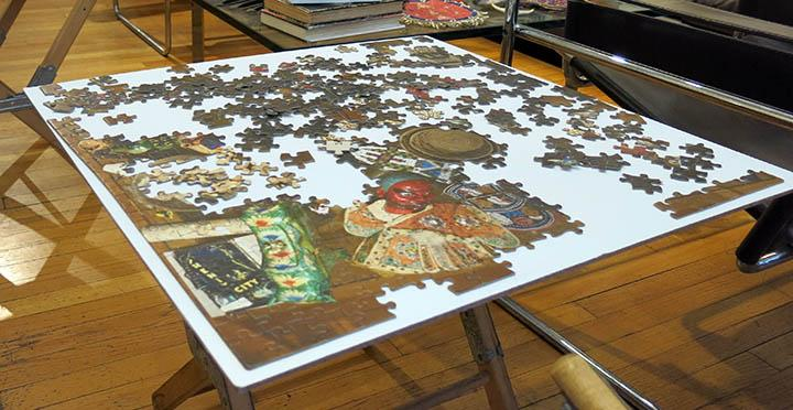 An in-progress puzzle set up in the RBSC living room