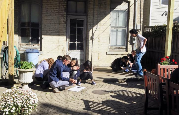 SAIC students drawing in the RBSC garden