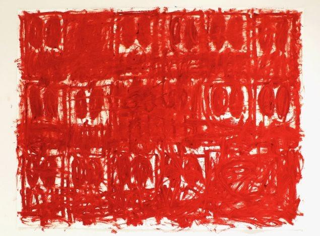 Rashid Johnson, Untitled Red Drawing, 2020, oil on cotton rag.
