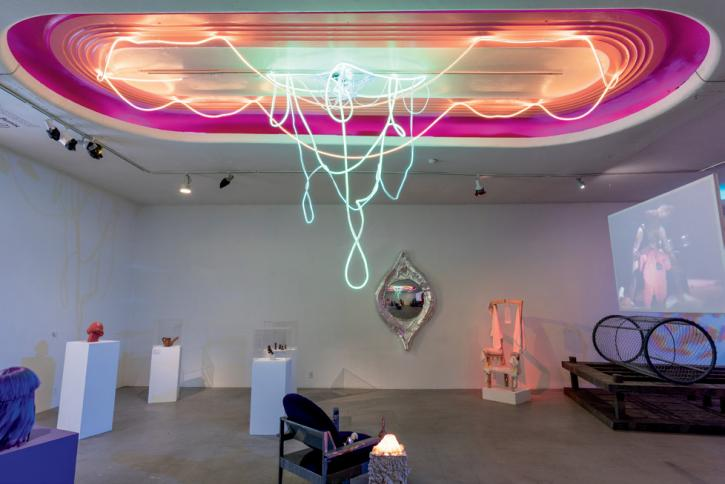 Installation view of Ceiling Vaginis Light Drip, 2018, from the CAVERNOUS exhibition at Los Angeles Contemporary Exhibitions, LED neon, and paint. Photos: Christopher Wormald