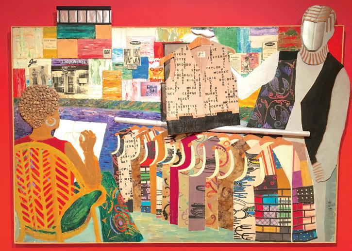 Jae Jarrell (SAIC 1959–61), Going to NYC, 1994, mixed media, 53 x 74 in. Courtesy of the artist and Kavi Gupta