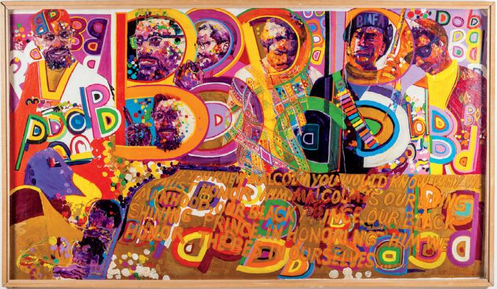 Wadsworth Jarrell (DIPLOMA 1958), Homage to a Giant, 1970, acrylic on board, 48 x 90 x 3 in. Courtesy of the artist and Kavi Gupta