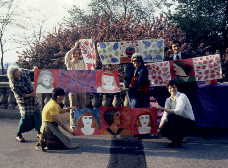 Lee Godie's Red Party, Grant Park, Chicago, spring 1975. Photo: Roger Brown. Courtesy of SAIC's Roger Brown Study Collection