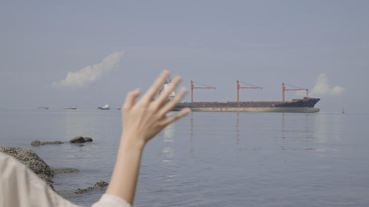 A large container ship in a blue ocean harbor. In the foreground of the image is a waving hand.