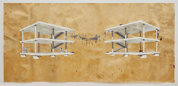 william cordova, infinity (siglo de las luces), 2020, acrylic, graphite, watercolor, paper collage and gold leaf on paper, 44 ½ x 90 ½ inches. Courtesy of the artist.