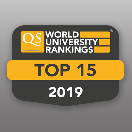 QS World University Top 15 Rankings Badge