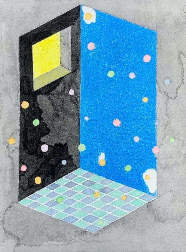 Quentin Yang (MFA 2020), a moment., 2020, colored pencils on paper, watercolor