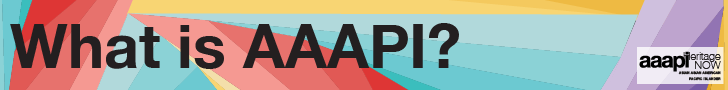 """Title text in black reads: """"What is AAAPI?"""" over a blue, red, purple, and yellow triangular background"""