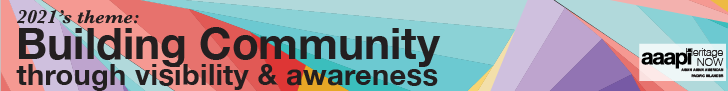 """Text title in black font reads: 2021's theme: Building Community through visibility and awareness"""" over a background of blue, red, yellow, and purple triangles"""