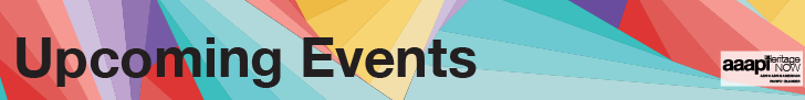 """Text title in black font reads: """"Upcoming Events"""" over a geometric pattern of blue, red, yellow, and purple triangles. A white square logo reads: AAAPI in the bottom right corner."""