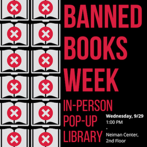 Advertisement for the Banned Books Week In-Person Pop-Up Library.