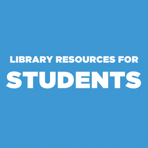 Blue tile with white text reading Library Resources for Students