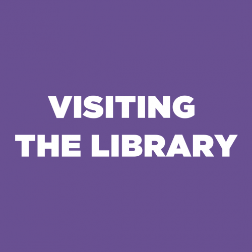 Plain square with 'Visiting the Library' text