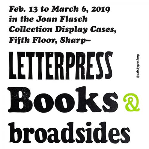 text poster reads Letterpress Books & Broadsides