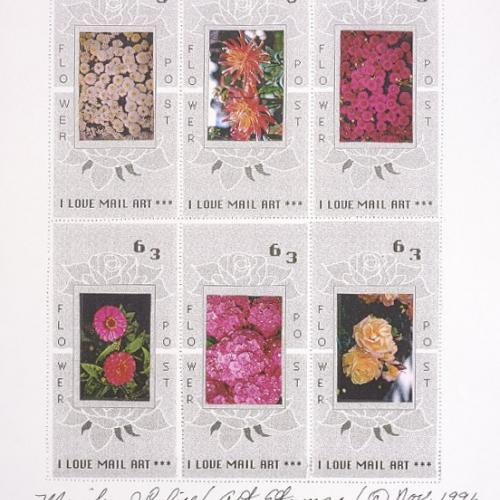 stamp art of flowers by Marilyn J. Califf