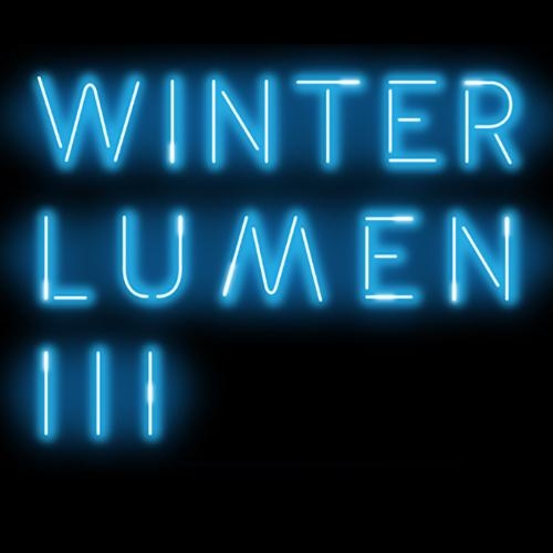 Text in the style of neon lights reads: Winter Lumen III