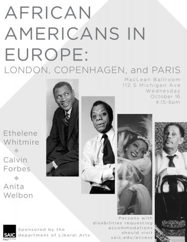 Poster featuring noted African Americans in Europe to be discussed