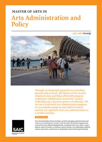 MA Arts Administration and Policy Brochure Cover