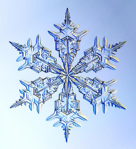 Close-Up Picture of an Icy Snowflake