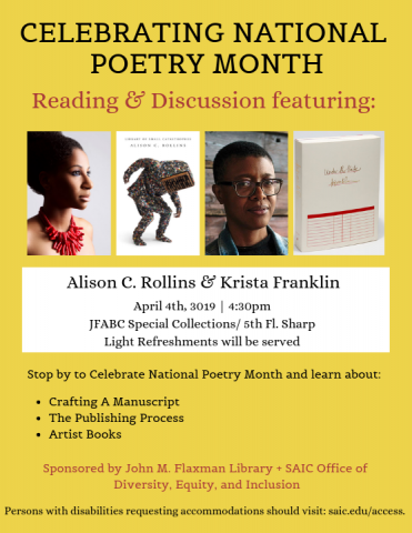 Alison Rollins and Krista Franklin Poetry Reading Flyer