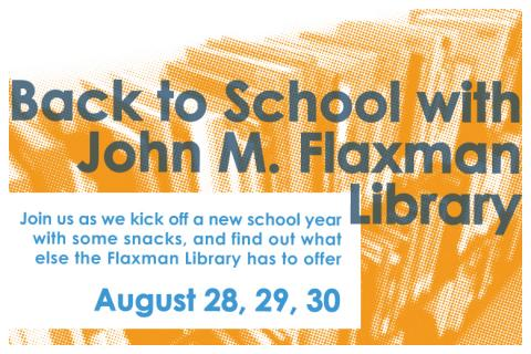 Flaxman poster, reading Back to School with Flaxman Library