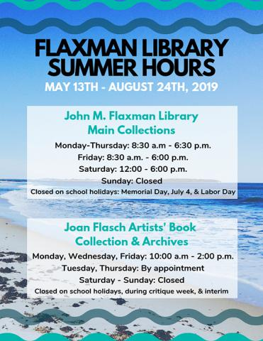 Flaxman summer hours 2019