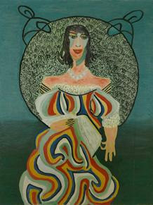 """Pauline Simon (American, 1898-1976), Untitled. 1968. A portrait of a woman with a book. Collection of Karl Wirsum and Lorri Gunn.   """"Sixty Inches From Center"""""""