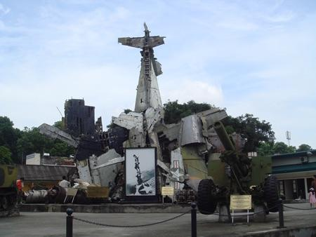 Tribute with wrecked plane in Asia
