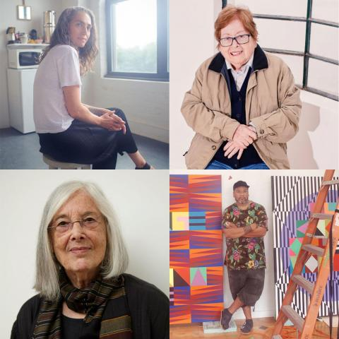 Top row: Genesis Belanger (2004), Teresa Burga (MFA 1970, HON 2018). Bottom row: Diane Simpson (BFA 1971, MFA 1978), Jeffery Gibson (BFA 1995)