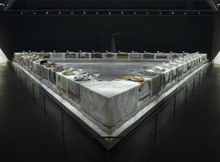 Judy Chicago (American, born 1939). The Dinner Party, 1974–79. Ceramic, porcelain, textile, 576 × 576 in. (1463 × 1463 cm). Brooklyn Museum, Gift of the Elizabeth A. Sackler Foundation, 2002.10. © Judy Chicago. (Photo: Donald Woodman)