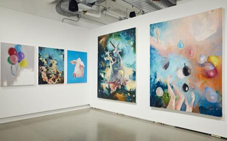 Paintings by Bassim Al Shaker, From left to right: Balloons, Floating in Heaven, Too Happy?, Flying, Untitled
