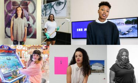 Clockwise from left: Sam Falls (courtesy Brand New Gallery); Tatyana Fazlalizadeh (photo by Teddy Wachholz); Martine Syms (courtesy The Broad); Kameelah Janan Rasheed (courtesy Pinchuk Foundation); Sadie Barnette (courtesy the artist); and Lu Yang