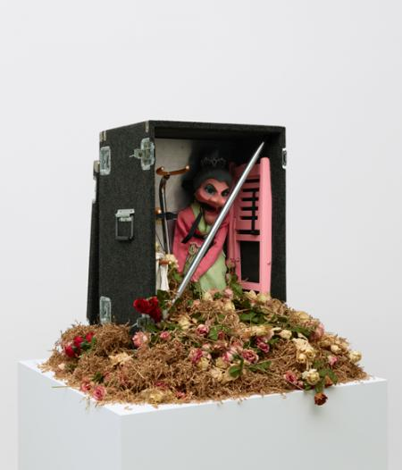 Nayland Blake, Magic, 1990–91, puppet, steel, paper, wood, nylon straps, artificial flowers, and carrying case, 33 3/4 x 42 5/8 x 41 3/4 inches. ©Nayland Blake. Courtesy of Matthew Marks Gallery, New York