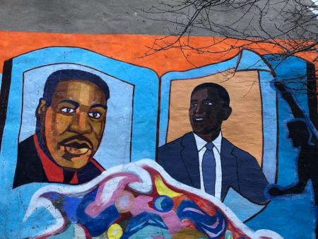Mural of Barack Obama at CYC by Elana Tenner (MA 2018) and Jenna Boyles (MA 2018)