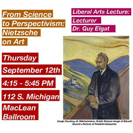 Guy Elgat Lecture Poster for From Science to Perspectivism: Nietzsche on Art