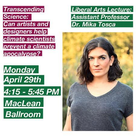 Mika Tosca Lecture Poster for Can Artists and designers help climate scientists prevent a climate apocalypse?