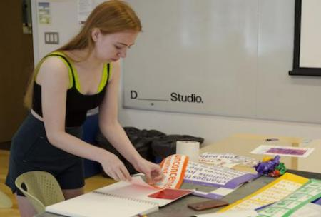 Student works on project