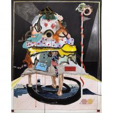 Nyugen E. Smith, Bundlehouse (On the radar), 2018, mixed media and collage on paper, 30 x 22 inches. Courtesy of the Artist.