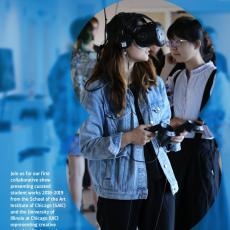 Poster depicts a student wearing a Virtual Reality headset, holding remotes