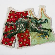 Mike Cloud, <em>Rabbit-Quilt</em>, 2008, Oil and clothes on linen