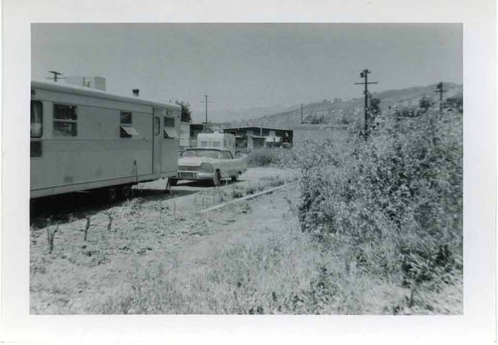 Figure 1. Spartan 1962  Caption: Royal Mansion Spartan trailer at 6754 Ojai, La Conchita, CA, in 1962. The photo most likely came with the trailer when Brown purchased it.
