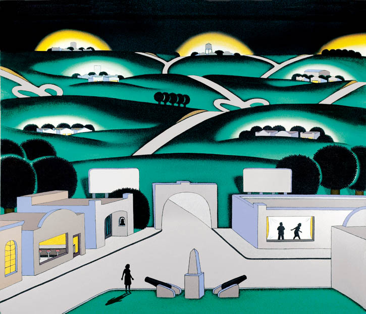 Figure 10. Roger Brown, See Seven Cities, 1971, oil on canvas, 47 1/2 in. x 59 1/4 in.