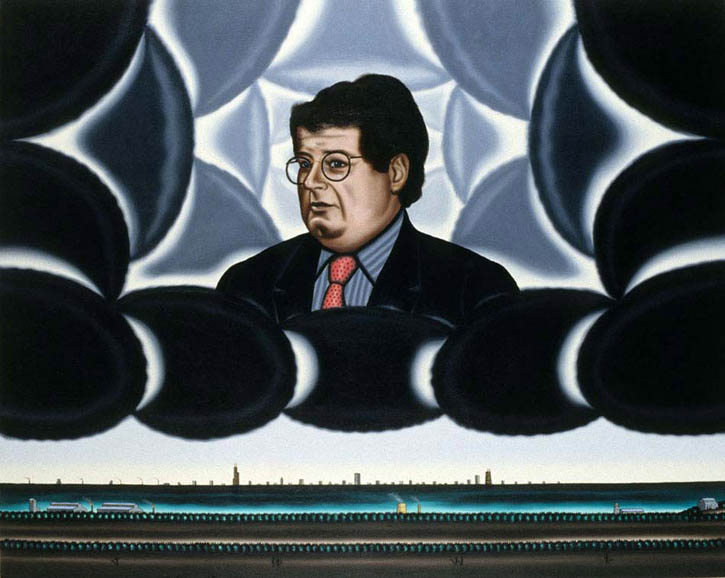 Figure 13. Roger Brown, Stanley Tigerman in his Domain, 1989, oil on canvas, 48 in. x 72 in.