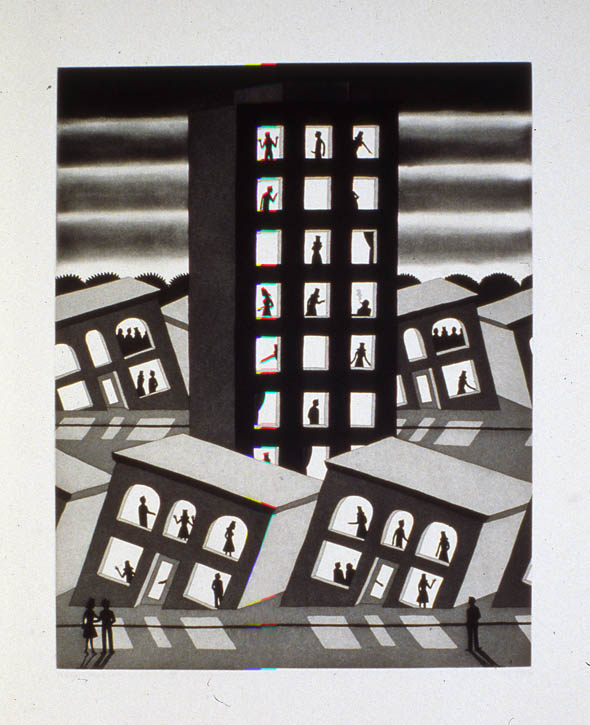 Figure 13. Roger Brown, Standing While All Around Are Sinking, 1977, etching and aquatint