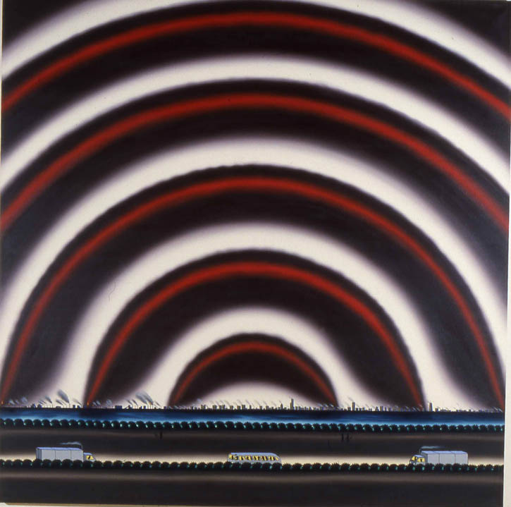 Figure 2. Roger Brown, Lake Effect, 1980, o/c, 72 in. x 72 in.,  SAIC Roger Brown Estate