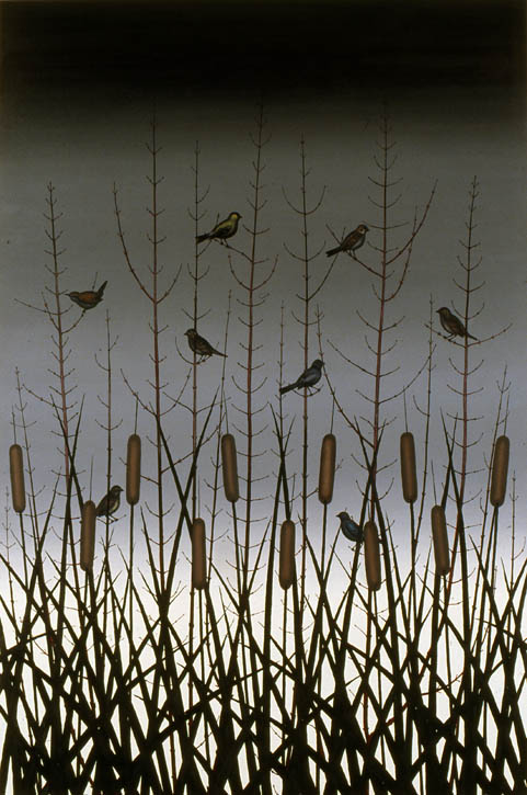 Figure 20. Roger Brown, Red Twig Dogwood with Finches, Wrens, and Sparrows, 1981, o/c, 72 in. x 48 in.